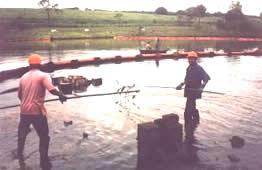 """Utilização de barreiras de contenção e """"skimmer"""" para remoção de óleo em lagoa"""