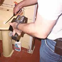 Monitoramento com instrumento portátil em instalação hidráulica doméstica