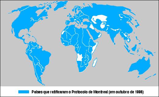 Figura 3.4 - Países que ratificaram o Protocolo de Montreal (1987).