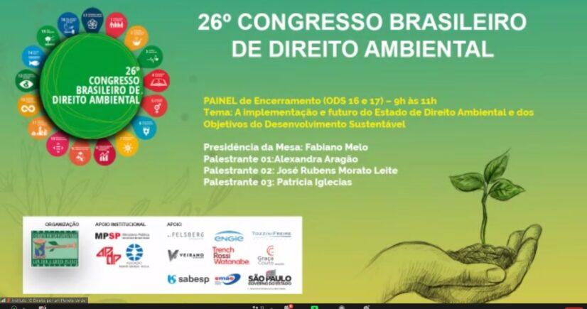 Palestra sobre o ODS Parcerias encerra Congresso de Direito Ambiental